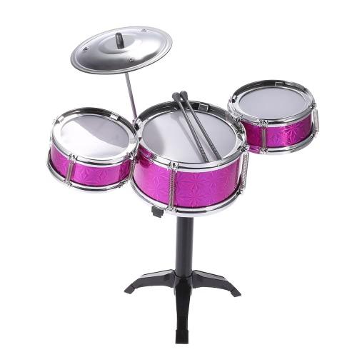 小シンバルドラムスティックを持つ子供キッズデスクトップドラムセット3ドラム楽器玩具