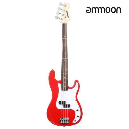 Ammoon Gitara elektryczna z drewna litego Gitara PB Style Gitara basowa Drewno Rosewood Fingerboard z kablami kablowymi