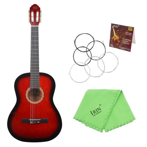 """39 """"6-Strunowa Gitara klasyczna z drewna liściastego solidnego drewna 19 Frets Nylonowa końcówka stopu miedzi dla miłośników muzyki Student początkujący"""