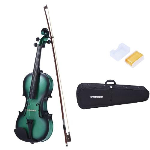 ammoon 4/4 Full Size Basswood Violine Maple Scroll Griffbrett Pegs Aluminiumlegierung Tailpiece mit hoher Qualität Rosin Bow Violin Case-Steigung-Farben