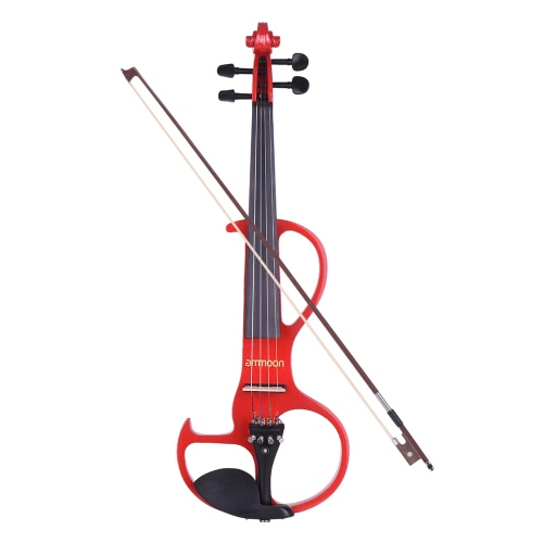 Ammo-Ménage Taille totale 4/4 Bois massif Électrique Silencieux Violon Fiddle Style-3 Ebony Fingerboard Pegs Chin Rest Tailpiece avec Bow Hard Case Tuner Casque Rosin Extra Strings & Bridge