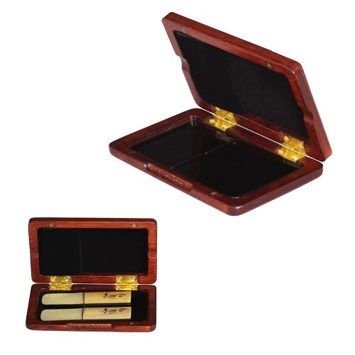 テノール/アルト/ソプラノサクソフォン用ソリッドウッドリードケース木製ホルダーボックスクラリネットリード、2個入り容量