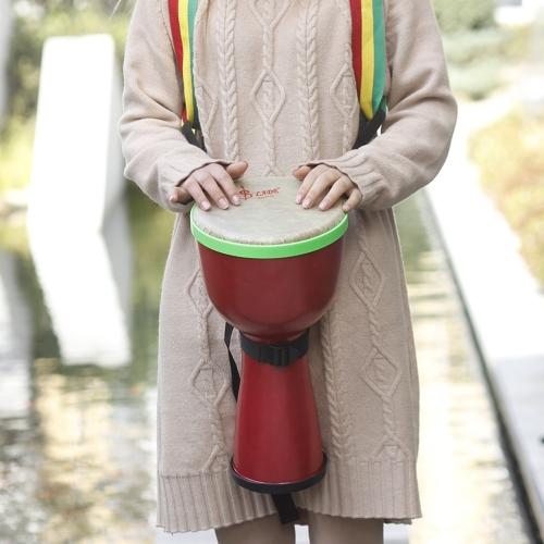 Tamburo africano portatile Djembe Bongo mano tamburo ABS corpo 8inch Poliestere testa del tamburo con Egg Shakers Drum Strap