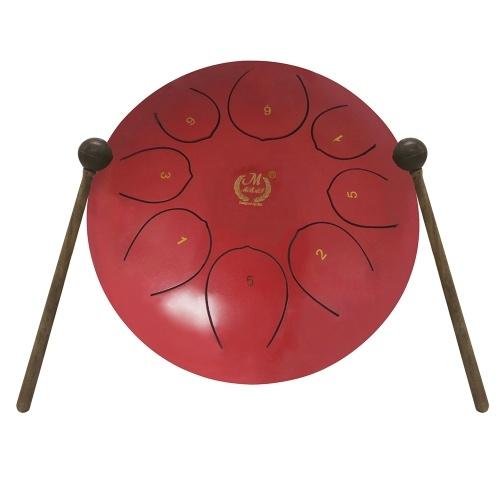 Bild von 10-Zoll-Stahlzunge Drum Percussion Instrument Hand Pan Drum mit Trommel Schlägel Carry Taschen Note Sticks