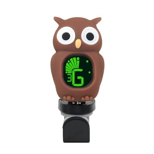Cute Cartoon Owl Clip-On sintonizador de pantalla LCD para guitarra bajo cromático Ukulele violín