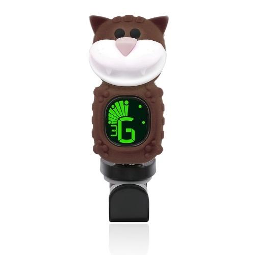 Mignon bande dessinée chat Clip-On Tuner LCD Display pour guitare chromatique Basse Ukulélé Violon