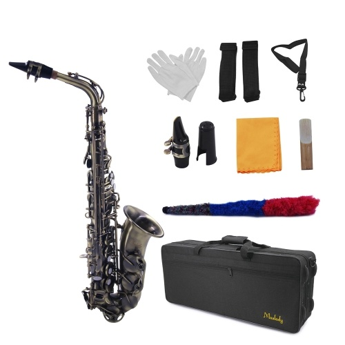 Muslady Eb Alto Saxophone Sax Vintage Red 802 Key Type Woodwind Instrument