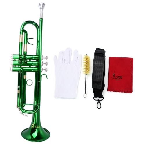 Trompete Bb B Flat Messing exquisit mit Mundstück Pinsel Reinigungstuch Handschuhe Riemen