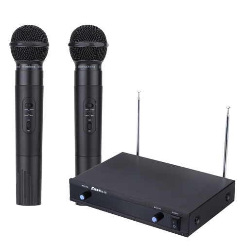 Professional Dual 2 Channel UHF PLL Synthesized Diversity Transmitter Emitter Receiver Wireless Microphone System with 2 Handheld Dynamic Mic