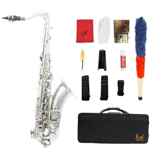 LADE クリーニング布グリース ベルト ブラシ ケース手袋を持つパターン パール ホワイト シェル ボタン管楽器を刻まれた真鍮 Bb のテナー サックス サックス