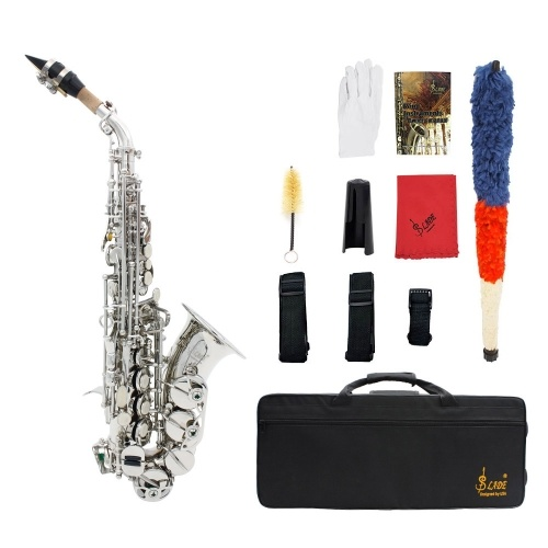 LADE 真鍮ゴールデン彫るパターン Bb ベンド アルトホルン ソプラノ サックス サックス パール ホワイト シェル ボタンを持つ管楽器ケース手袋布グリース ベルト ブラシ洗浄