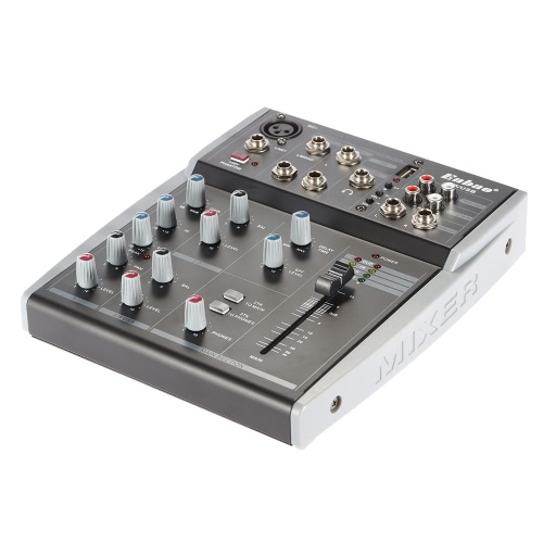 Portable 5 Kanäle Musik Audio Mixer Mixing Konsole 2-Band EQ mit USB XLR LINE-Eingang 48V Phantomspeisung für die Aufzeichnung von DJ Bühne Karaoke