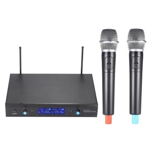 2-Channnel palmare UHF Wireless microfono sistema Mic 2 microfoni 1 ricevitore Display LCD con adattatore di alimentazione cavo Audio 6,35 mm per Karaoke riunione partito