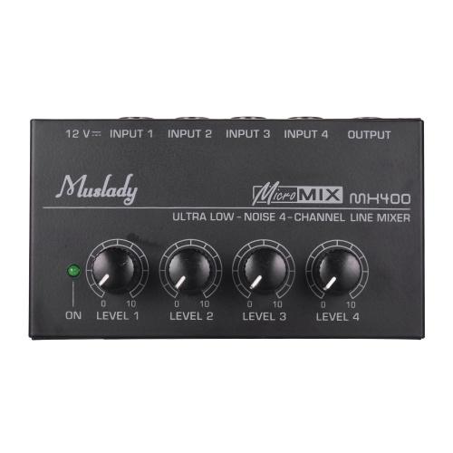 Muslady MX400 Ultra-compacto de Baixo Ruído 4 Canais Linha Mono Mixer de Áudio com Adaptador de Energia