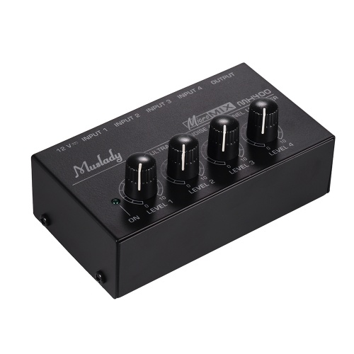 Muslady MX400 Ultra-compact Low Noise 4 Channels Line Mono Audio Mixer with Power Adapter