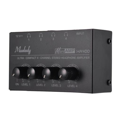 Muslady HA400 Ультракомпактный 4-канальный усилитель для наушников Mini Audio со стерео адаптером