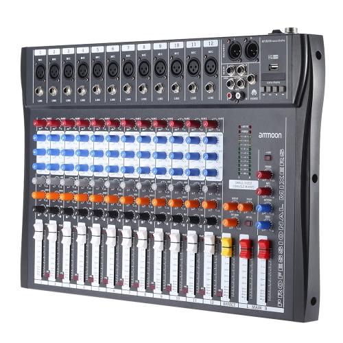 ammoon 120 USB 12 チャンネル マイク ライン オーディオ ミキサー ミキシング コンソール USB XLR 入力 3 バンド EQ 48 v ファントム電源アダプターと電源します。