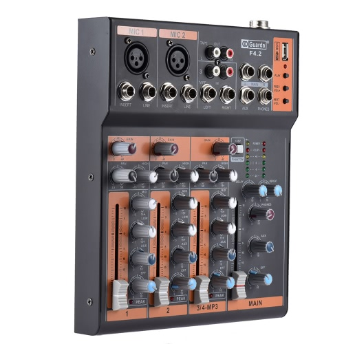 Portable 4-Channel Mic Line Audio Mixer Mixing Console 3-band EQ USB Interface 48V Phantom Power with Power Adapter