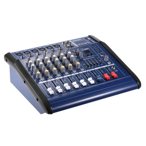 ammoon 6 каналов Цифровой микрофон Audio Line смешивающий усилитель мощности консоли смесителя с 48В USB / SD слот для записи DJ Stage Караоке