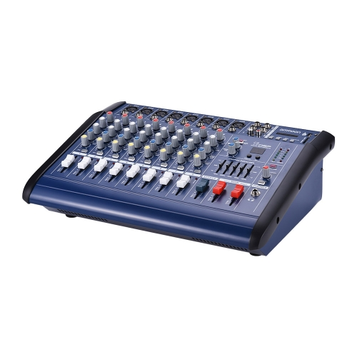 Ammoon 8-kanałowy wzmacniacz z zasilaniem Digital Audio Mixing Console Amp z gniazdem 48V Phantom Power USB / SD do nagrywania DJ Stage Karaoke
