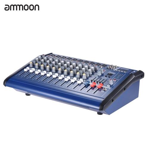 ミキサーアンプデジタルオーディオを録音DJステージカラオケ用に48Vファンタム電源、USB / SDスロットとコンソールアンプミキシングパワード10チャンネルammoon