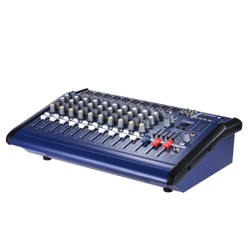 ammoon 10 canali Powered amplificatore mixer audio digitale Mixing Console Amp con 48V Phantom Power USB / SD Slot per la registrazione DJ fase Karaoke