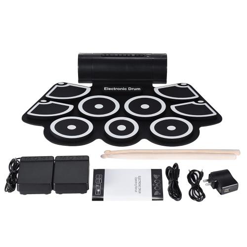 Портативный электронный Roll Up Drum колодок 9 пусковые площадки кремния Встроенные динамики с Барабанные палочки Педали USB 3,5 мм аудио кабель фото