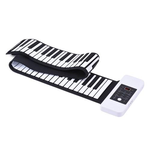 Tragbare Silicon 88 Tasten Hand Roll Up Piano elektronische USB-Tastatur eingebaute Li-Ionen-Akku und Lautsprecher mit einem Pedal