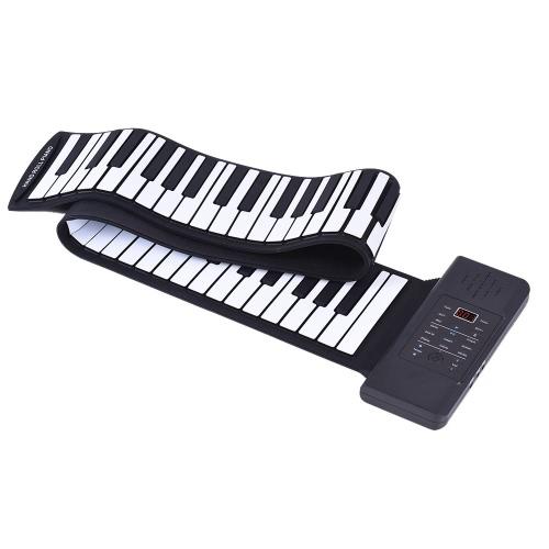 内蔵のリチウムイオン電池とラウドスピーカーOneペダルでポータブルシリコン88キーハンドロールアップピアノ電子USBキーボード