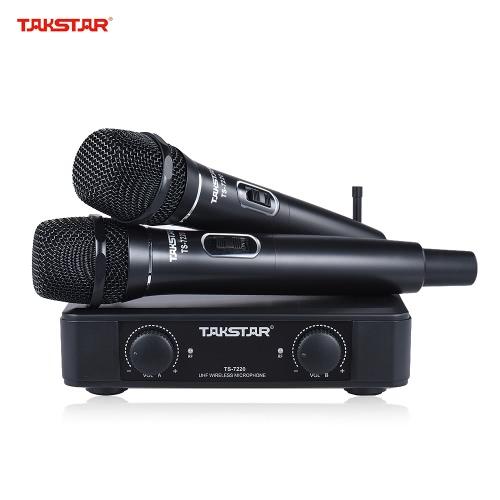TAKSTAR TS-7220HH UHFデュアルチャンネルのワイヤレスマイクマイクシステムスピーチカラオケ大会党のための6.35ミリメートルオーディオケーブル電源アダプタと2ハンドヘルドマイク1レシーバ