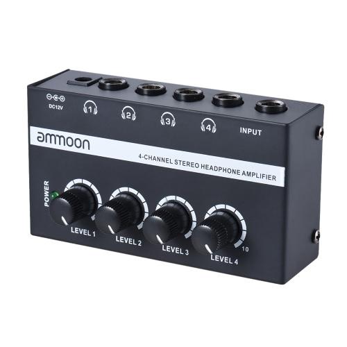 ammoon HA400ウルトラコンパクト4チャンネル電源アダプタミニオーディオステレオヘッドフォンアンプ