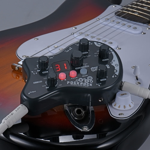 PockRock Portable Guitar Multi-effects Processor Effect Pedal 15 Effect Types 40 Drum Rhythms Tuning Function   with Power Adapter