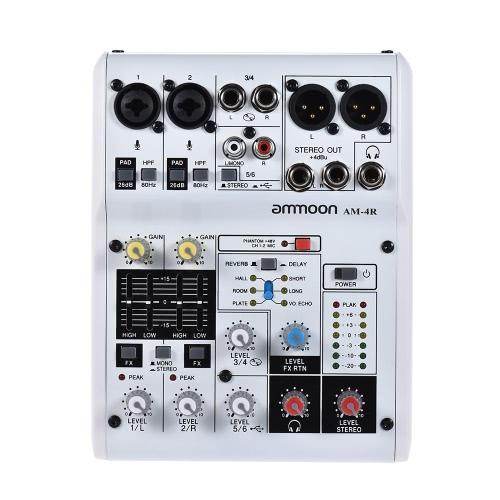 Ammoon AM-6R 8-Kanal-Soundkarte Digitaler Audio-Mixer Mischpult Eingebauter 48V Phantomspeisung Powered by 5V Power Bank mit Netzadapter USB-Kabel für die Aufnahme von DJ Network Live Broadcast Karaoke