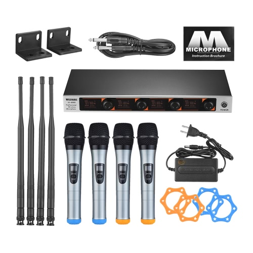 Professional 4 Channel VHF Wireless Handheld Microphone System 4 Microphones 1 Wireless Receiver 6.35mm Audio Cable Power Adapter LCD Display for Karaoke Family Party Presentation Performance Public Address