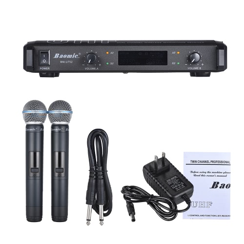 Baomic BM-U752 Professionale Dual Channel UHF Digital Wireless Sistema Palmare Microfono