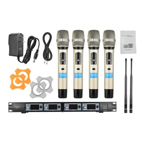 ammoon 4D-B Professional 4 Kanal UHF Drahtloses Handmikrofonsystem 4 Mikrofone 1 Drahtloser Empfänger 6.35mm Audiokabel LCD-Anzeige für Karaoke Familienfeier Präsentation Leistung Öffentliche Adresse