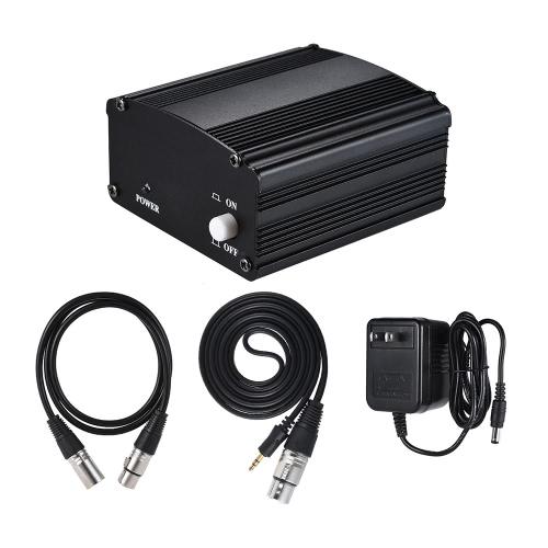 1チャンネル48Vファンタム電源(アダプター&XLRメス+ XLRメスXLRメスオーディオコンデンサーマイクスタジオ用)オーディオ録音機器