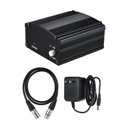 1チャンネル48Vファントム電源アダプタ&XLRオスXLRメスコンデンサーマイク用スタジオミュージックレコーディング放送機器