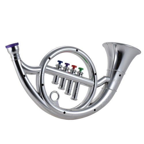 Musical Instrument Toy French Horn with 4 Colored Keys Musical Gift for Kids Children