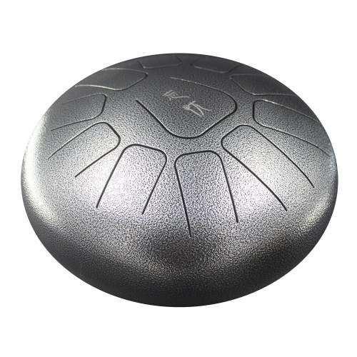 10 Inch Steel Tongue Drum Handpan Drum Hand Drum 11 Tones Percussion Instrument with Drum Mallets Carry Bag Note Sticks