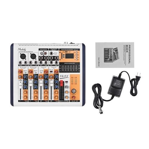Muslady V6-FX 6-канальная портативная микшерская консоль Встроенный 16 DSP-эффектов + фантомное питание 48 В Поддерживает BT-соединение с адаптером питания для записи в студии Сеть прямой трансляции DJ Karaoke