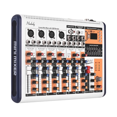 8-канальный портативный микшерный пульт Muslady V8-FX Встроенный 16 DSP-эффектов + фантомное питание 48 В Поддерживает BT-соединение с адаптером питания для записи в студии.