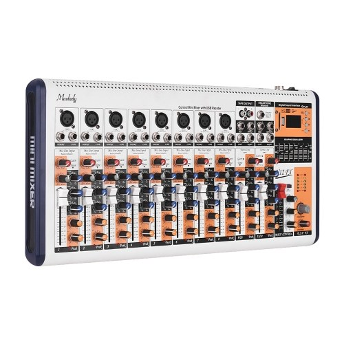 Muslady V12-FX 12-Channel Portable Mixing Console Mixer Built-in 16 DSP Effects +48V Phantom Power Supports BT Connection with Power Adapter for Studio Recording Network Live Broadcast DJ Karaoke