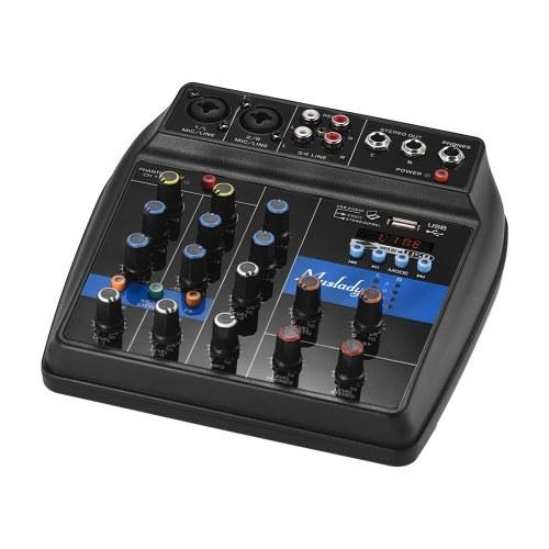 Muslady S-1 Console di mixaggio portatile a 4 canali BT