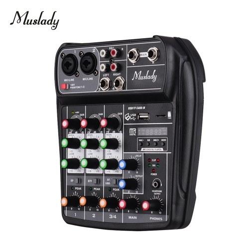 Muslady AI-4 Tarjeta de sonido compacta Consola de mezcla Mezclador de audio digital