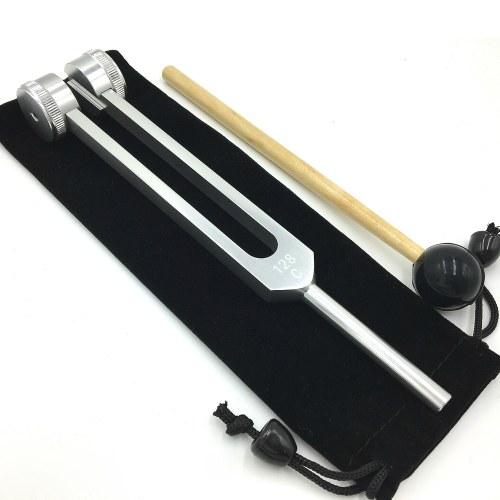 128 HZ Aluminiumlegierung Silber Stimmgabel Chakra Hammer Ball Diagnosewerkzeug für Schallheilungstherapie