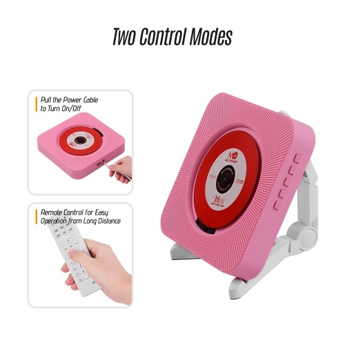 Portable Wall Mounted CD Player Music Amplifier Audio Boombox with Remote Control Support BT/ USB/ FM Modes Pink US Plug