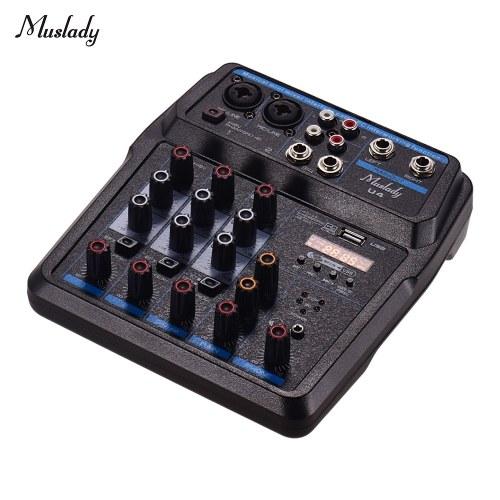 Muslady U4 Портативный 4-х канальный аудио микшер