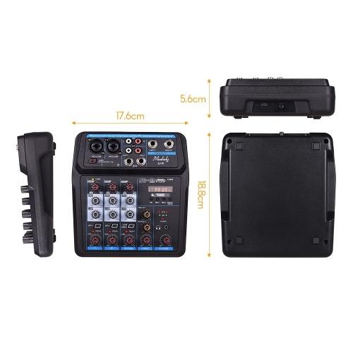 Muslady U4 Portable 4 Channels Audio Mixer