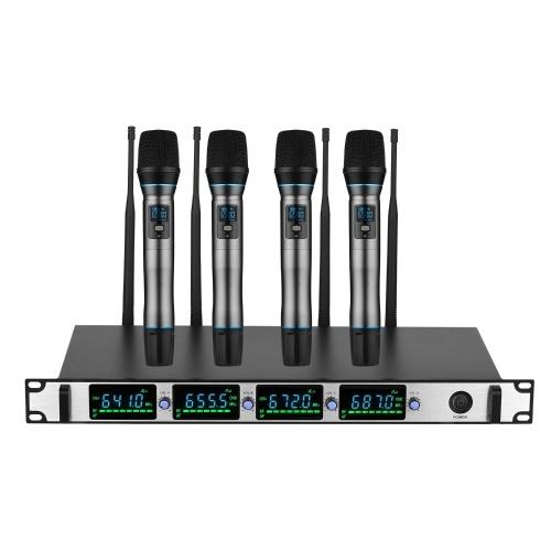 Professionelles kabelloses Mikrofonsystem 4-Kanal-UHF-Akku-Mikrofonset